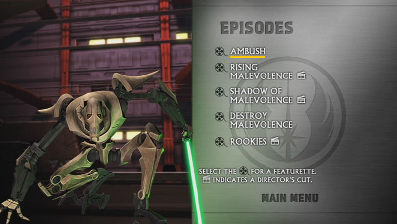 The Clone Wars Season One - Disc 1 - Episode Screen