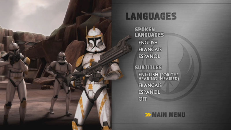 The Clone Wars Season One - Disc 1 - Language Screen