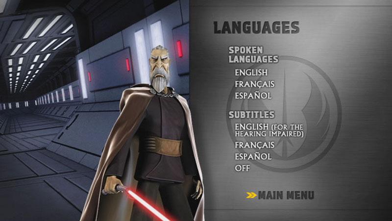 The Clone Wars Season One - Disc 2 - Language Screen