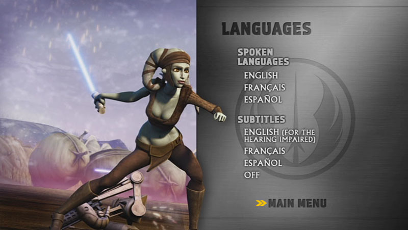 The Clone Wars Season One - Disc 3 - Language Screen