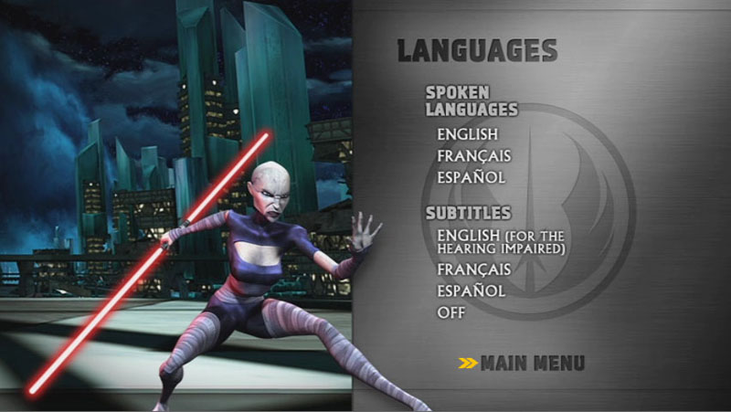 The Clone Wars Season One - Disc 4 - Language Screen