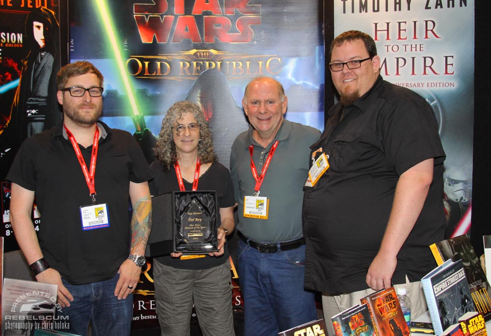 2011 Star Wars Licensee Of The Year goes to Del Rey. Left to right -D. Martin Myatt, Shelly Shapiro, Philip Wise, and Erich R. Schoeneweiss