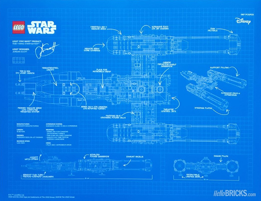 Rebelscum lego first look at ucs y wing blueprint according to the post the print measures in at slightly bigger than a4 210 297mm or 827 1169 and has a printed signature of jordan scott malvernweather Gallery