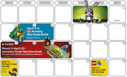LEGO Star Wars April calendar brand store event