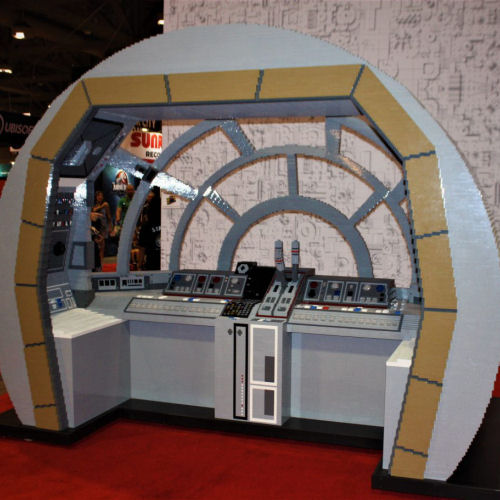 Lifesize Millennium Falcon cockpit made out of LEGO at Fan Expo Canada