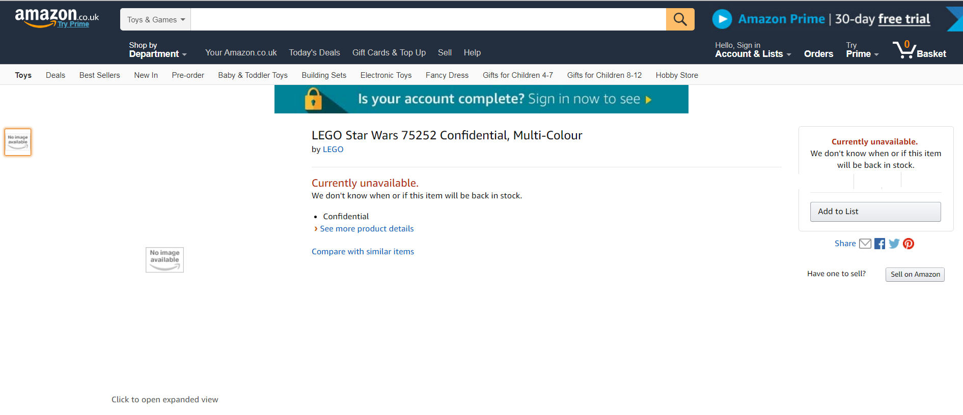 Rebelscum com: LEGO: Star Wars 75252 Confidential Listed On