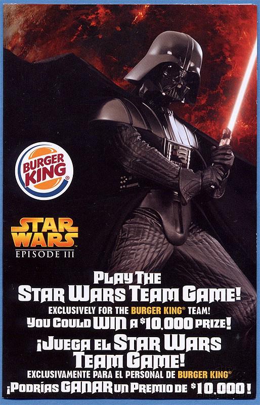 Burger King Star Wars Team Game Flyer