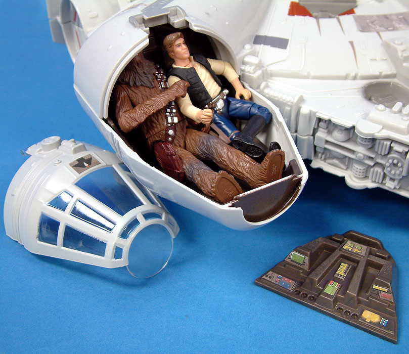 With a little squeezing, Chewbacca and Han Solo fit inside cockpit