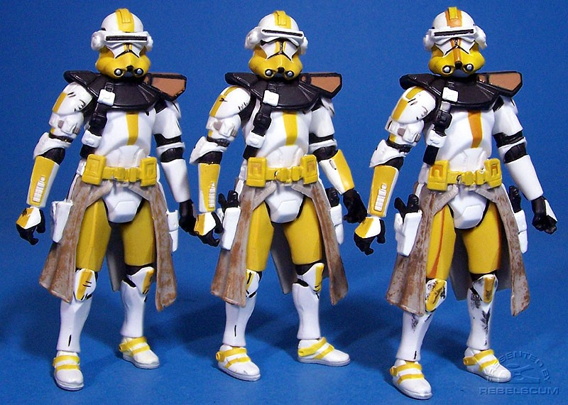 Commander Bly variants: white shoulder rings | yellow shoulder rings | brown stripes