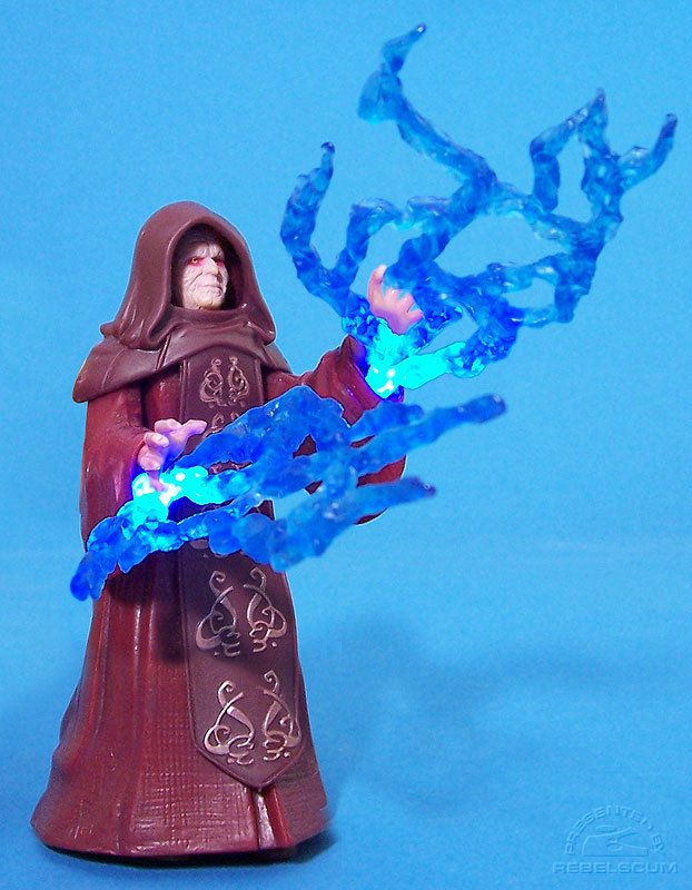 Emperor Palpatine changes to Darth Sidious and lights up!