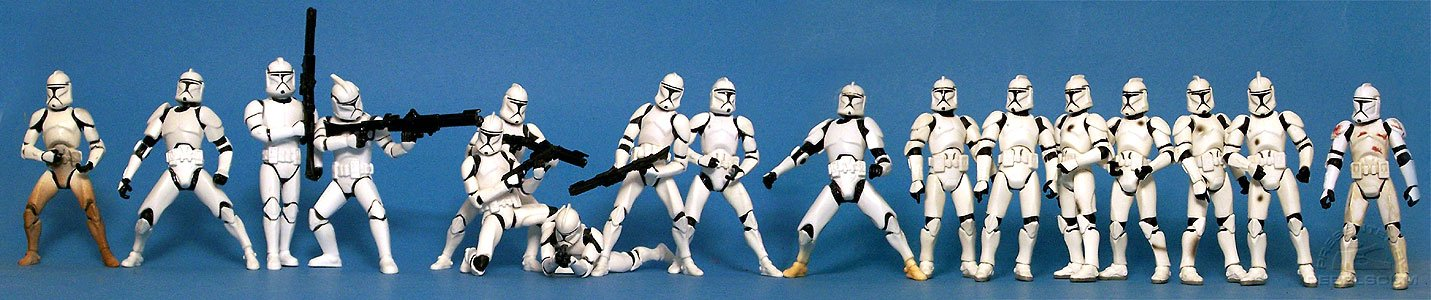 <i>Attack of the Clones</i> Clone Trooper Evolution:<br>Sneak Preview | 2002 Deluxe | Bootlegs (Marching - Shooting) | Clone Trooper Army | Bonus Repaint | 2003 Deluxe | Trooper 03-50 | Clean Trooper | Dirty Troopers | Evolutions