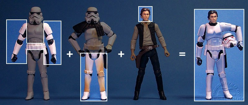 The parts used to make this version of Han Solo