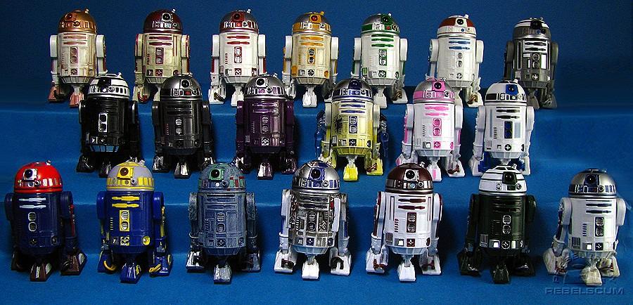 Astromech line-up! top row: r4-g9 | r4-p17 i | r2-m5 | r2-c4 | r2-a6
