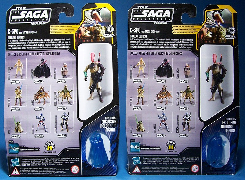C-3PO head version packaged with ''good guy'' hologram | Battle Droid head version packaged with ''bad guy'' hologram