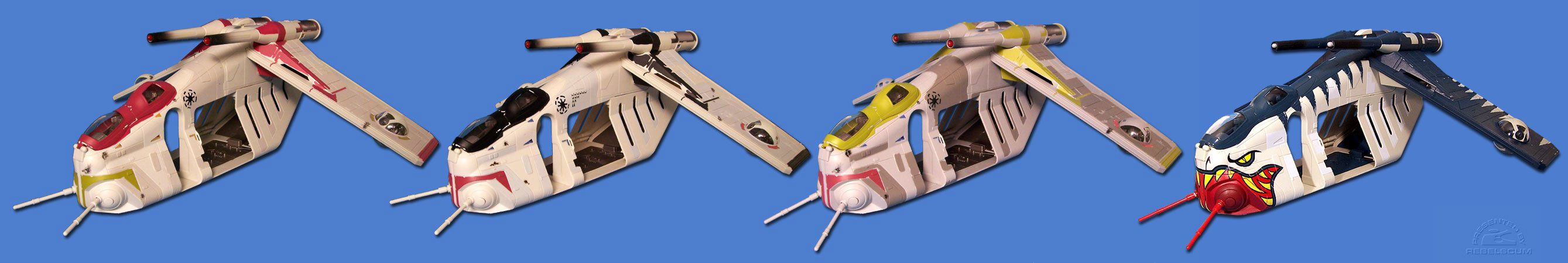 SAGA Republic Gunship (2002) | CLONE WARS Command Gunship (2003) | ROTS Republic Gunship (2005) | TSC Republic Gunship (2006)
