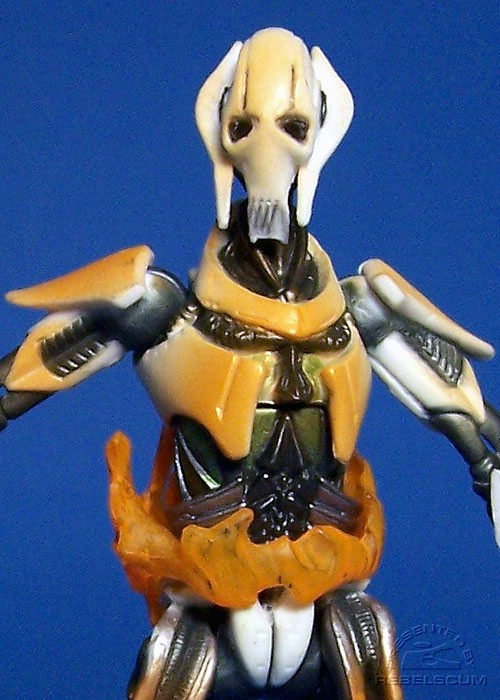Torso flames can be rotated around figure, but not easily removed due to the large hip joints