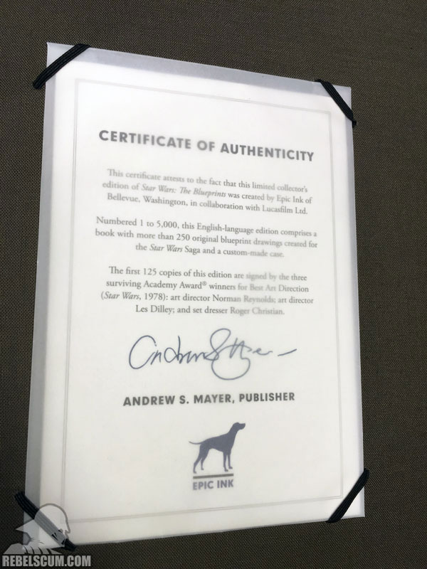 Star Wars: The Blueprints (Certificate of Authenticity)