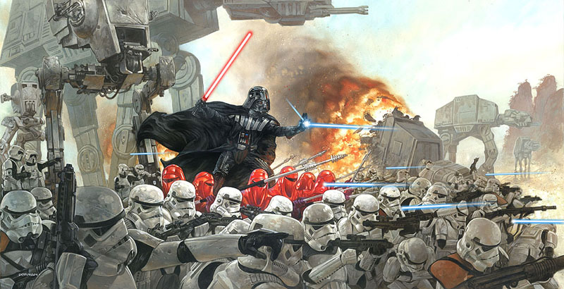 Dave Dorman painting of Vader leading an army of stormtroopers..