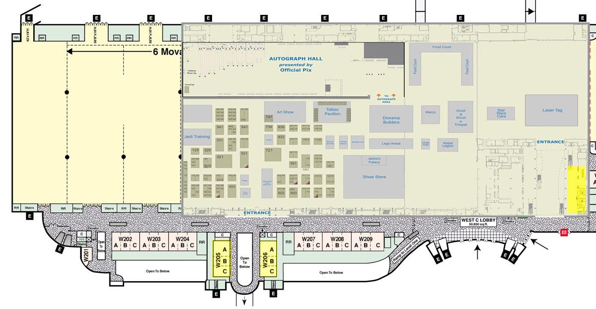 Celebration VI - Center Map - Level 2 (Main Exhibit Hall, Panels)