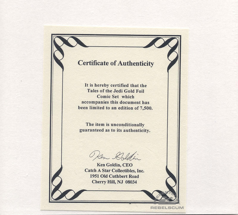 Tales of the Jedi (Gold Foil Logo Set) Certificate of Authenticity
