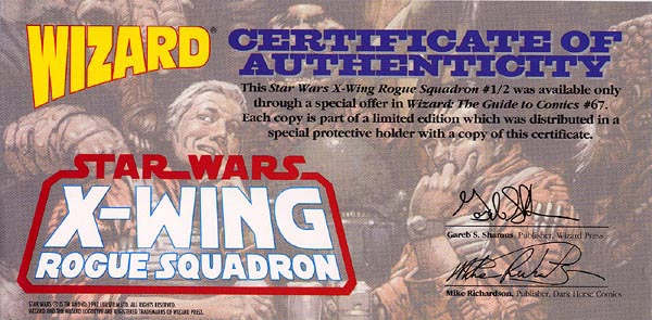 X-Wing Rogue Squadron 1/2 Certificate of Authenticity