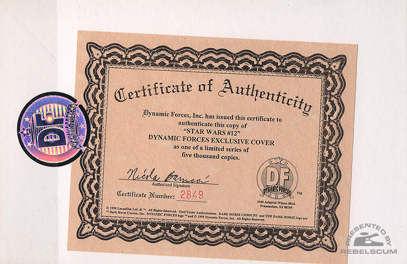 Star Wars 12 (Certificate of Authenticity)