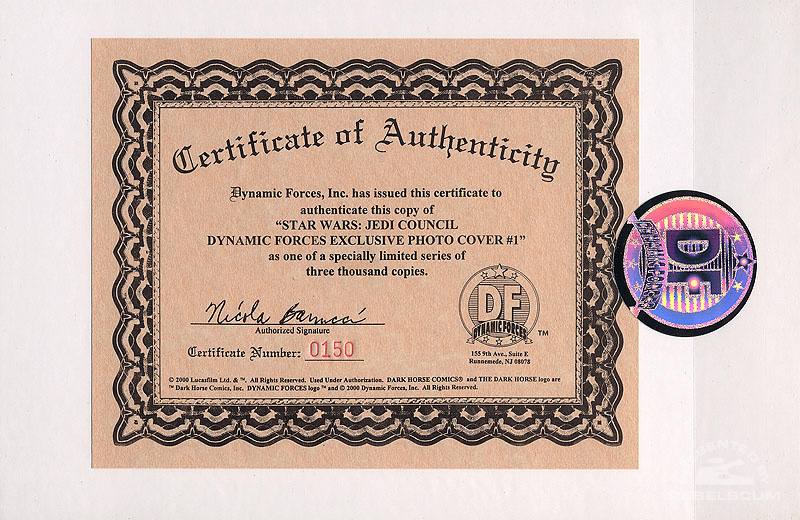 Jedi Councii: Acts of War 1 (Certificate of Authenticity)