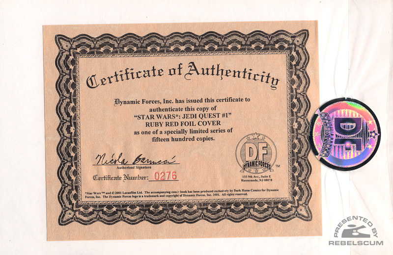 Jedi Quest 1 (Certificate of Authenticty)