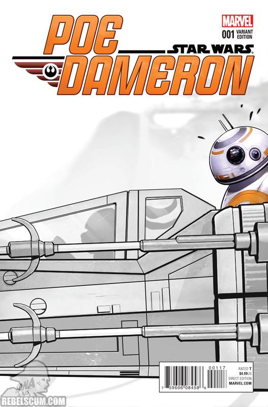 Poe Dameron 1 (David Nakayama Party sketch variant)