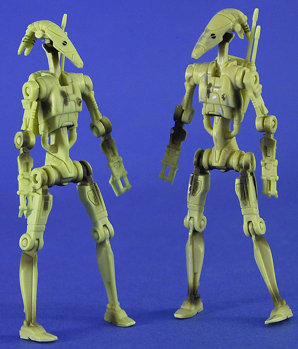 Battle Droid comparison (Sneak Preview on left, Episode I on right)