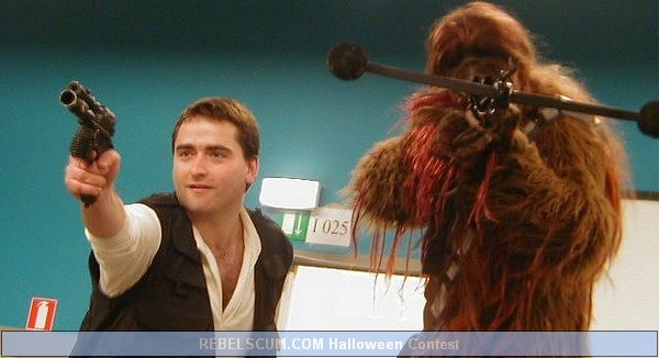 Gauthier Vilain and Gilles Degauque as Han Solo and Chewy