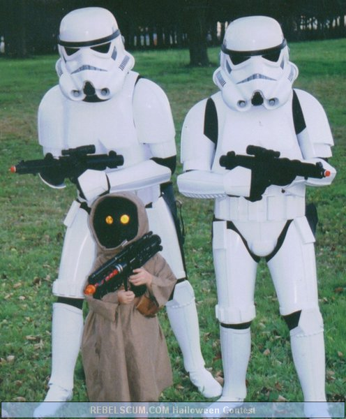 Jeff Danielle and Sebastian as Stormtroopers and Jawa