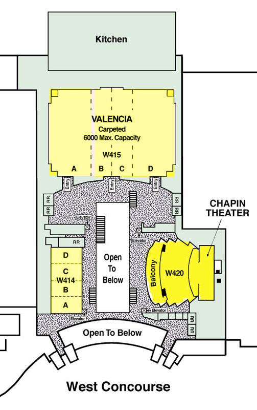 Celebration V - Center Map - Level 4 (Valencia Rooms, Chapin Theater)