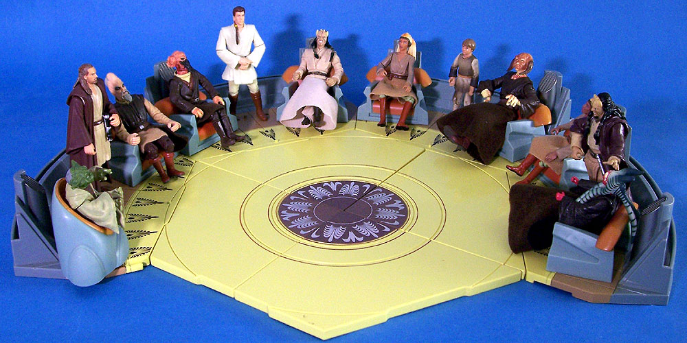 All four 2004 Jedi High Council Screen Scenes (with completed center floor)