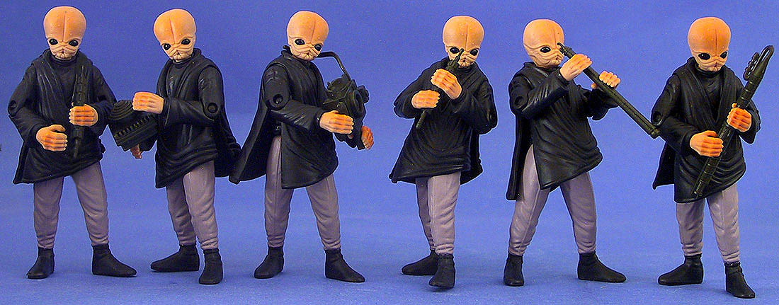 The Modal Nodes: Ickabel G'ont, Tech M'or, Nalan Cheel, Tedn Dahai, Doikk Na'ts, and Figrin D'an