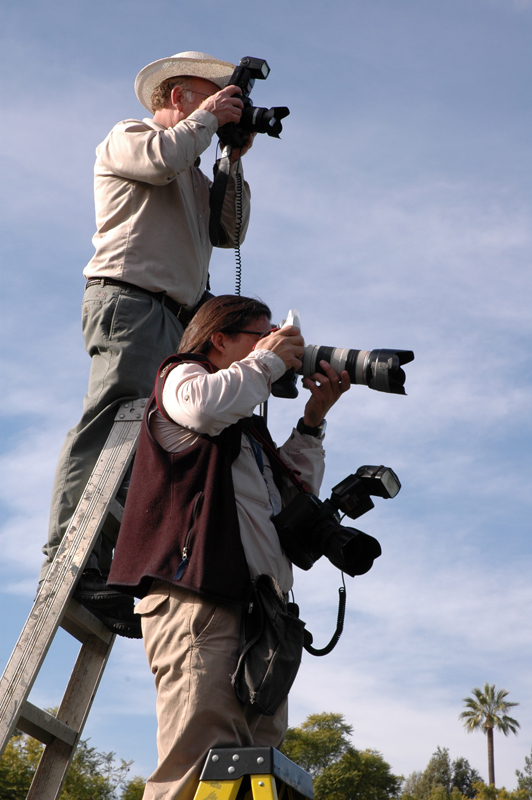 Lucasfilm and AP photographers labor on ladders