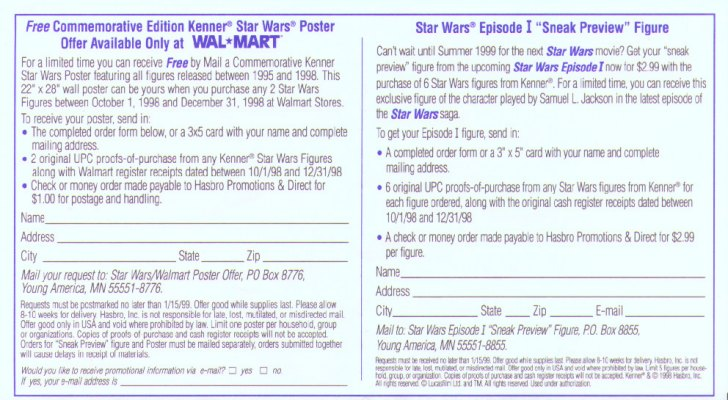 Wal-Mart poster and figure coupon