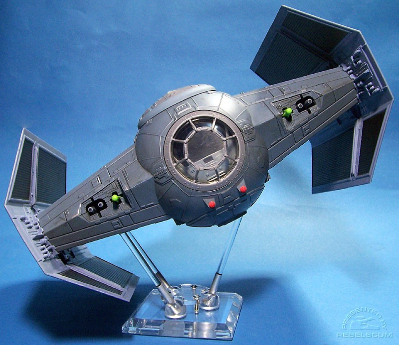 Darth Vader's TIE Fighter supported by one 6'' and two 4'' rods