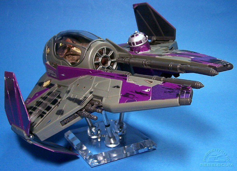Mace Windu's Jedi Starfighter supported by one 4'' and two 2.5'' rods