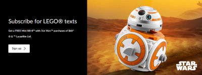 Free mini BB-8 offer at LEGO